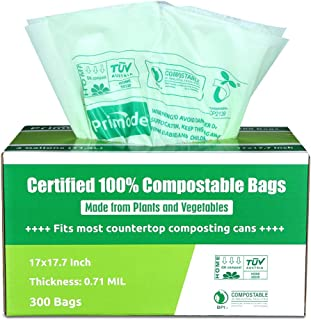100% Compostable Bags By Primode, 3 Gallon Food Scraps Yard Waste Bags, 300 Count, Extra Thick 0.71 Mil. ASTMD6400 Compost...