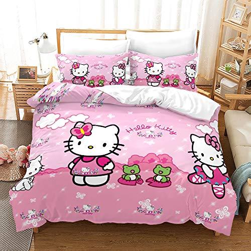 NICHIYOBI Hello Kitty - Juego de cama (funda nórdica y funda de almohada, microfibra, impresión digital 3D, 3 piezas, 9,140 x 210 cm + 80 x 80 cm), diseño de Hello Kitty