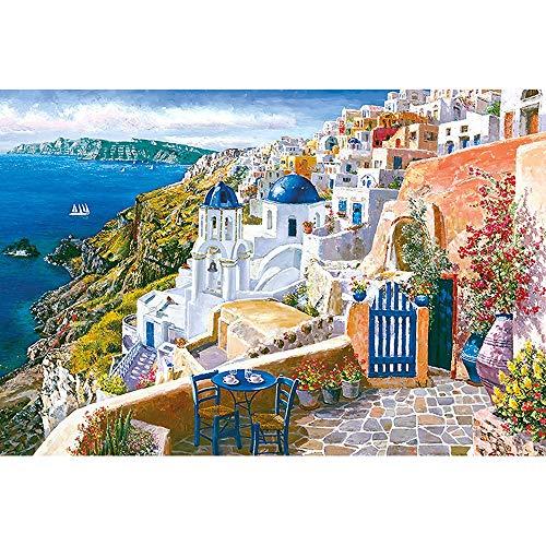 Adult Puzzel 1000/500/300 Piece Puzzle Wood Made Santorini Thera Thira Griekse Eiland Cliff Precipice Zeezicht Houten Puzzel (Size : 500 tablets)