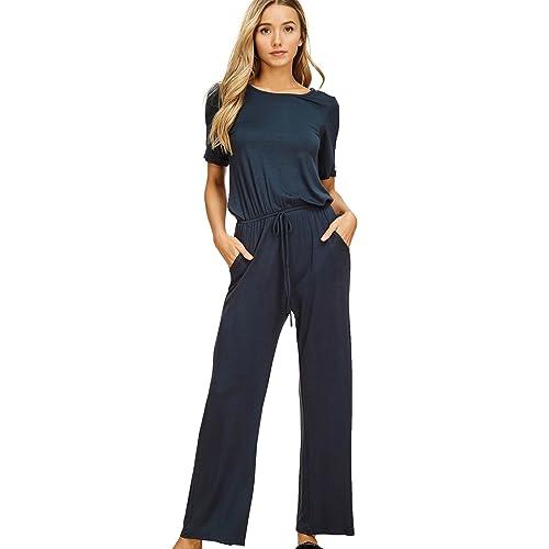 6dcb1cdcdd2 Annabelle Women s Casual Short Sleeve Jumpsuit Elastic Waist Wide Leg Romper  Pants with Pockets