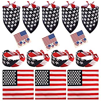 FEPITO 12 Pack American Flag Bandanas Headband USA Flag Kerchief and 12Pcs Tattoo Sticker for July 4th Patriotic Event Accessories