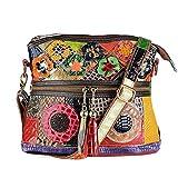 Segater® Damen Mehrfarbige Umhängetasche mit Blumenmuster, Mode Rindsleder Handtasche Schlangenmuster Design Leder Umhängetasche Reisehandtasche Echtes Leder Bunte Geldbörse