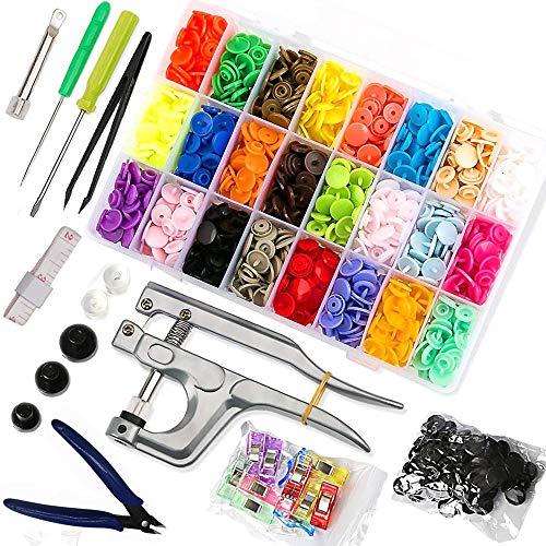 Queta - Set di 380 pinze a scatto T5/T8 con bottoni a pressione in 24 colori, senza cuciture, accessori in organizer per fai da te, bottoni per borse, vestiti, ombrelli