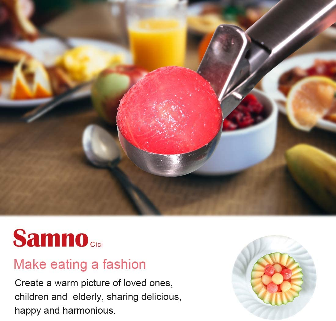 (2pack) Samno Cici ice Cream Scoop Stainless Steel ice Cream Scoop Icecream Spoons Icecream Spoon Easy to Trigger 5.7cm