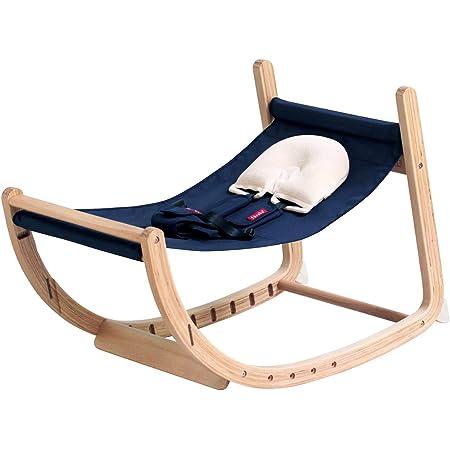 farska (ファルスカ) スクロールチェア 安全ベルト付き ネイビー [ 新生児~大人まで ] バウンサー 撥水加工シート 木製 限定色(746116)