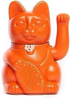 Gatto Fortunato Cinese. Gatto portofortuno. Lucky cat. Maneki Neko. COLORE ARANCIO 12x8x18cm