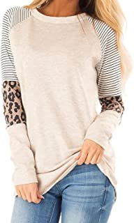 UUYUK Women's Color Block Long Sleeve Casual Cotton Stylish Leopard Print Striped Pullover Tops Tunics
