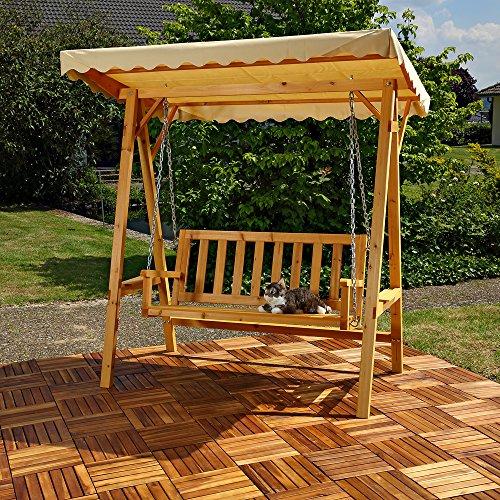 Melko Hollywoodschaukel Holz 188 x 161 x 88 cm Schwingliege Gartenschaukel Hängeschaukel Schaukelbank - 2