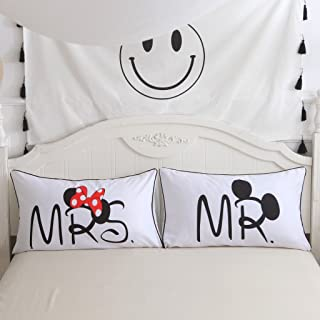 S Hotel Collection Brushed Microfiber Couples Mickey Mouse Pillow Shams Set of 2, Soft and Cozy, Standard Size 20