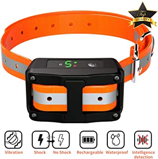 Dog Bark Collar - Rechargeable Anti Shock Barking Collar - Upgraded Smart Detection Module Stop Barking with Beep/Vibration/Shock 5 Sensitivity & IPX67 Level Waterproof for Small Medium Large Dogs