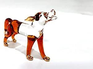 Sansukjai Fox Miniature Figurines Animals Hand Blown Glass Art 22k Gold Trim Collectible Gift Decorate, Clear Amber