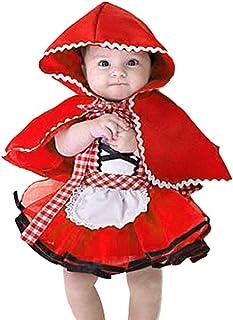 Disfraz Caperucita Roja Traje del Vestido Niña Bebé Ropa Recien Nacido Vestido Infantil Disfraz de Princesa de Niñas para Fiesta Carnaval Cumpleaños Cosplay 3meses a 4 años