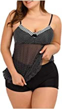 Atezch Women Plus Size Swimwear Sexy Dot Print Tankini Swimdress Set Two Piece Swimsuit Bathing Suit photo