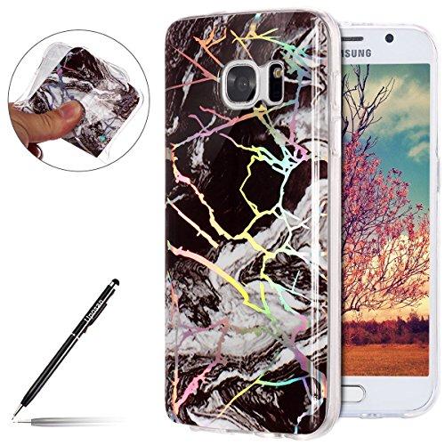 Uposao Coque Compatible avec Samsung Galaxy S7 Edge Marbre Coque en Silicone TPU Transparent Motif Marbre Housse Etui de Protection Coque Clair Bumper Souple Ultra Mince Anti-Choc Coque Galaxy S7 Edge