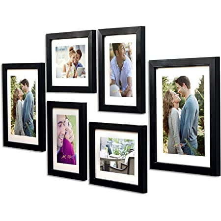 Art Street -Photo Frame Set Black Chief 6 Pcs (Photo Size 8x10 Inches - 2 Units, 6x8 inches 4 Units. (Free Hanging Accessories and Papper Mount)