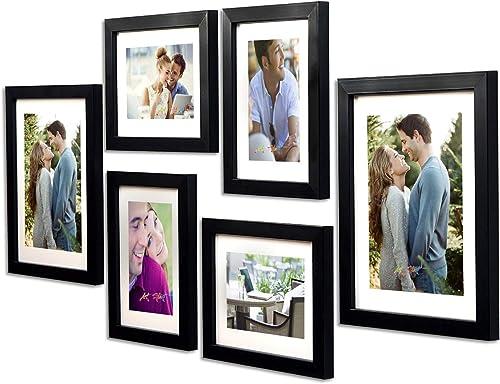 Art Street -Photo Frame Set Black Chief 6 Pcs (Photo Size 8x10 Inches - 2 Units, 6x8 inches 4 Units. (Free Hanging Ac...