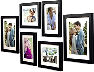 Art Street - Set of 6 Individual Wall Photo Frames Wall Hanging(Mix Size) (4 Units 6X8, 2 Units 8X10 inch)|| Free Hanging Accessories Included || (Black)
