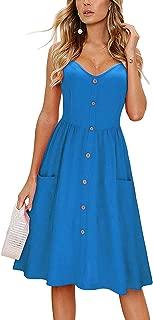 Women's Long Sleeve Dress Spaghetti Strap Button Down Dress with Pockets