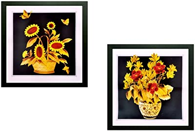 SAF Flower Textured UV Print Painting(Set of 2, 30 cm x 2 cm x 30 cm) SANFWD73 SANFWD73