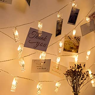 YEOLEH Photo Clip String Lights,10 Clips 20 LED Fairy Lights for Hanging Pictures/Cards/Artwork/Memos Decor