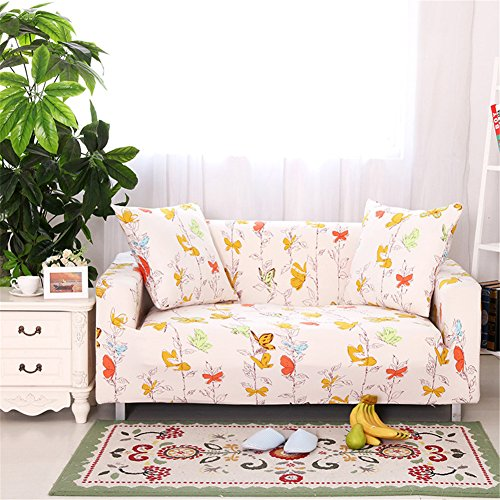 Fundas elásticas para sofá, tela, diseño de flores y pájaros, de la marca Getmorebeauty , diseño de mariposa, 3 Seater