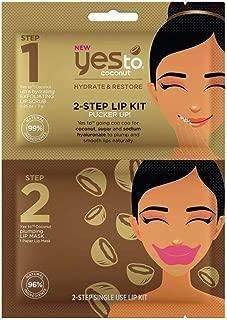 Yes To Coconut 2-step Hydrating Lip Plumper & Lip Scrub   Single Use Lip Mask & Scrub   Coconut, Sugar & Sodium Hyaluronate for Fuller Looking Lips