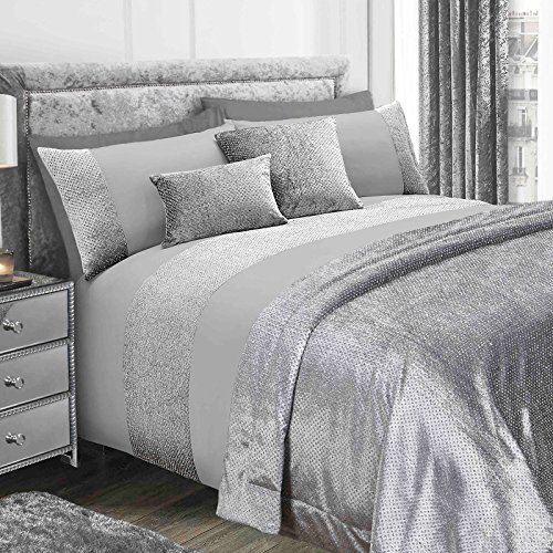 Sienna Glitter Velvet Duvet Cover with Pillowcase Sparkle Bling Bedding Set - Grey, Double