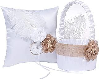 M&A Decor Wedding Flower Girl Basket Ring Bearer Pillow Elegant White Satin Set with Feather Burlap Flowers,2019 New