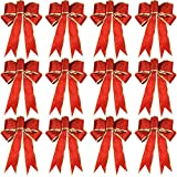 WILLBOND 12 Pieces Glitter Christmas Bows Christmas Wreath Bow Christmas Tree Ornaments Bows for Christmas Party Decoration (Gold and Red)