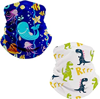 2 Packs Bandana Face Kids Neck Gaiter for Boys and Girls Warmer Cold Weather Face Covering Scarf Winter Balaclava