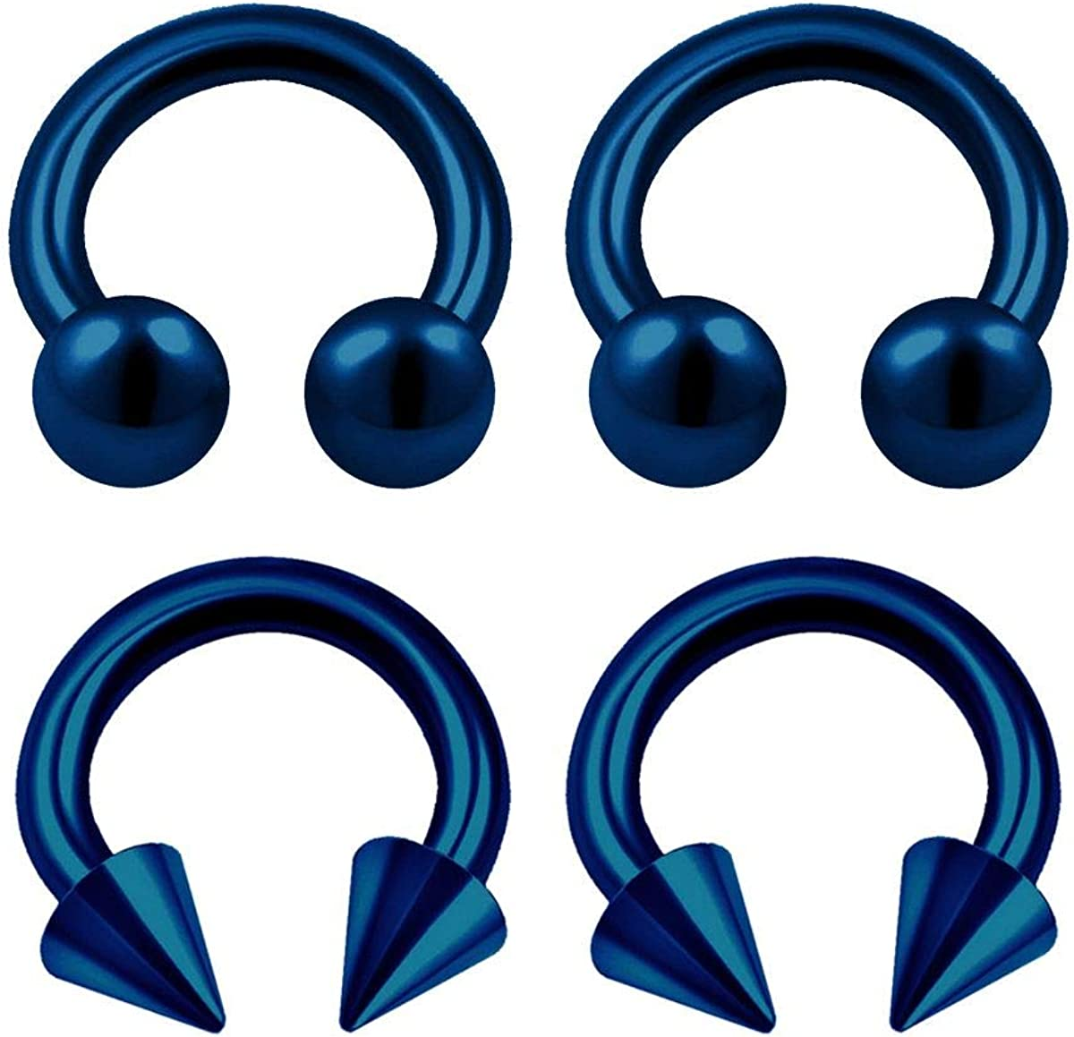 4PCS Surgical Steel Dark Blue Horseshoe Hoop 16 Gauge 3mm Ball Cone Tragus Rook Earrings Nose Piercing Jewelry See More Sizes