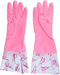 F Fityle 1 Pair Long Household Rubber Washing Up Cleaning Gloves Flock Lined Kitchen Gloves