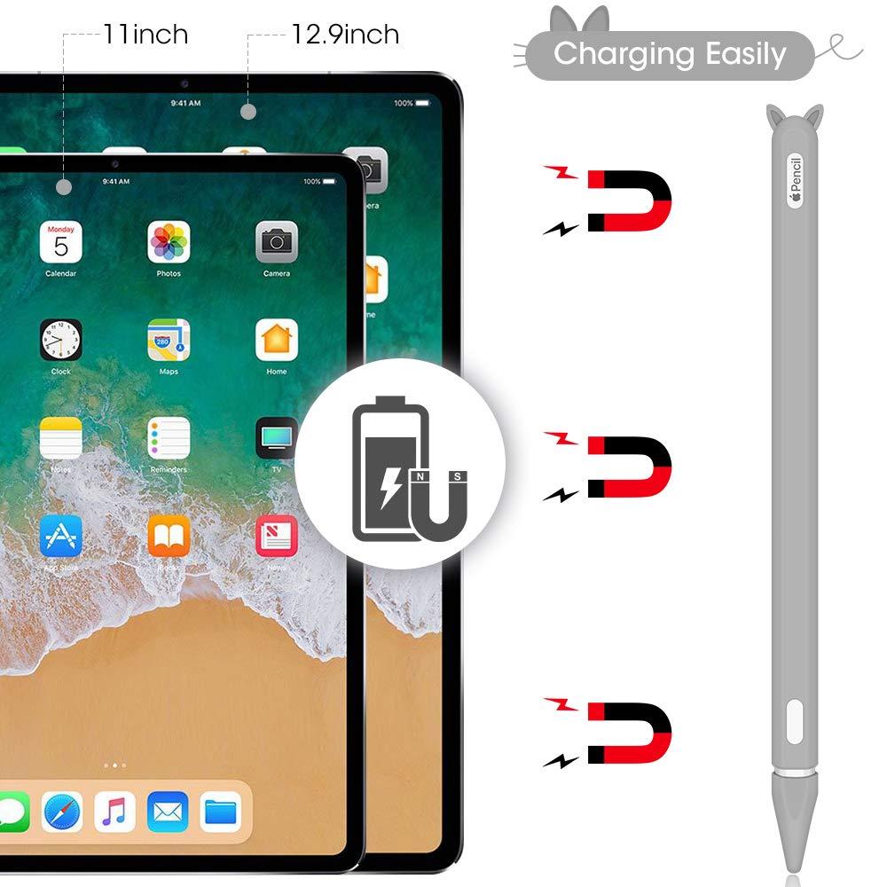 Hydream 2 Pack Funda de Silicona para Apple Pencil 2/ª generaci/ón Kit de Accesorios para iPad Pro 11//12.9 2018 Apple Pencil Case Funda Ultra Delgada Protectora Antideslizante Negro+Gris
