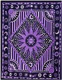 THE ART BOX Hippie Mandala Blue Sun Moon Burning Sun Tapiz psicodélico Trippy para Dormitorio Celestial Busning Sun Tapiz Bohemio Colgante de Pared Tapiz de Planeta
