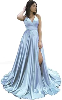 Jonlyc Women's A-Line Spaghetti Straps Satin Long Prom Dresses Formal Evening Gowns with Slit