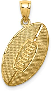 14k Yellow Gold Football Pendant Charm Necklace Sport Man Fine Jewelry Gift For Dad Mens For Him