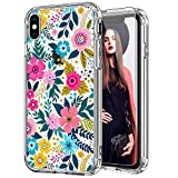 ICEDIO iPhone Xr Case with Screen Protector,Clear with Colorful Blooming Floral Flower Patterns for Girls Women,Shockproof Slim Fit TPU Cover Protective Phone Case for iPhone XR