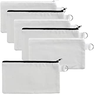 baotongle 10 PCS Multi-Purpose Cotton Canvas Zipper Invoice Bill Bag Pen Pencil Cosmetic Makeup Bag Pouch Blank DIY Craft Bag (White Color with Black and White Zipper, 8.6x4.7'')