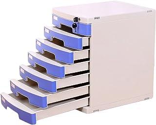 Classeurs de Bureau avec Serrure 7 tiroirs de Type A4 classeur de Bureau (Couleur : Bleu)