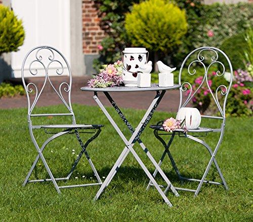 Gilde Mesa + 2 sillas Metal Gris (g69795) Hierro – Muebles de Jardín Muebles: Amazon.es: Jardín