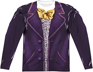 Willy Wonka And The Chocolate Factory Wonka Costume (Front Back Print)-L S Adult Poly Crew -White