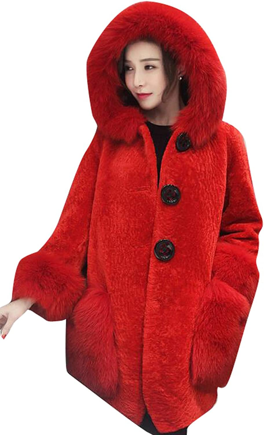 XQS Womens Winter Hooded Faux Fur Coat Trench Jacket Overcoat