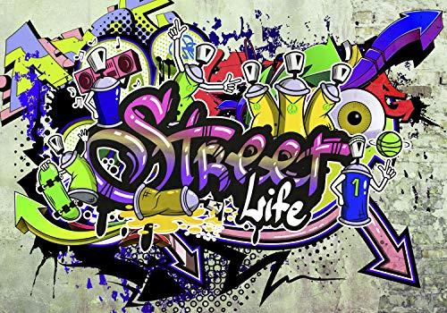 decomonkey | Papier peint intissé Graffiti 400x280 cm Trompe l oeil | Déco Mural Tableaux Muraux Photo Street Art Brique Mur de Pierre
