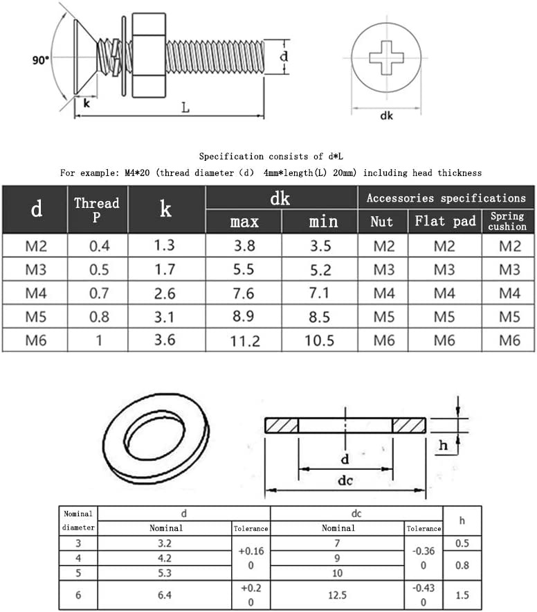 M5*16mm 20pcs 16-40mm Acero Inoxidable Tornillo Avellanado Tornillo Mecanico de Cabeza Cruz de Cabeza Plana con Arandela de Tuerca SONSYON Tornillos de M/áquina M5*