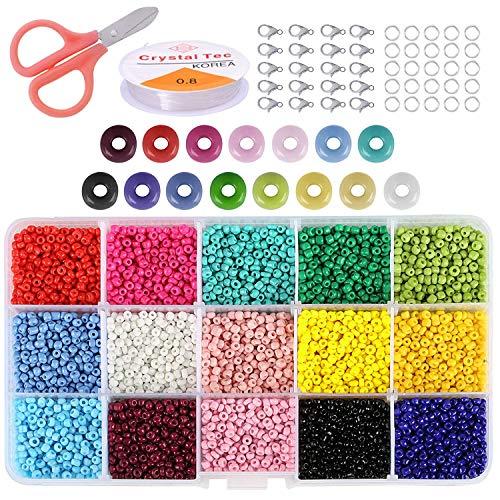 Cuentas de Colores 3mm Mini Cuentas de Cristal 7500 Piezas para DIY Arte y Joyería-Making Pulseras Collares Bisutería (15 Colores)