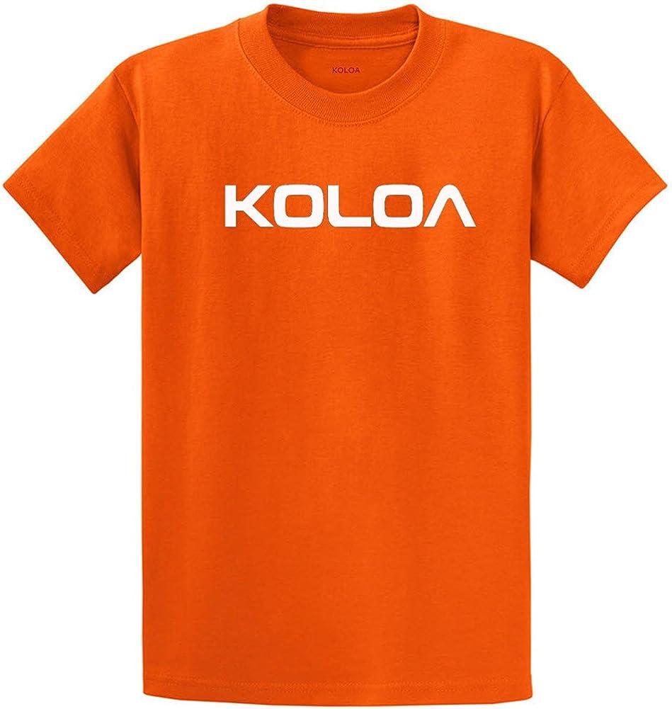 Joe's USA Koloa Surf(tm) Text Logo Cotton T-Shirts in Size Large Tall - LT Orange