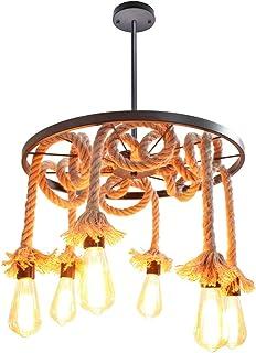 STOEX Lámpara Colgante Retro industrial E27 ø50cm Lámpara de Araña Vintage 6 Brazos Creativa Cuerda de Cáñama Araña
