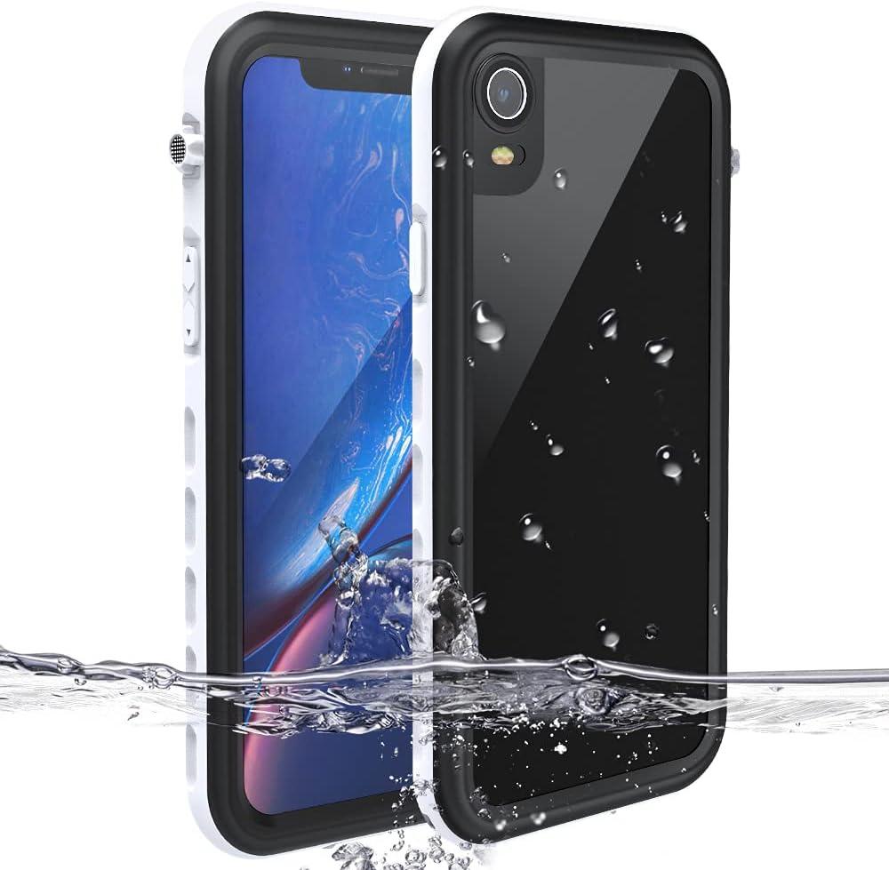 iPhone Xr Waterproof Case MIZUSUPI Underwater Full Sealed IP68 Certified Waterproof Case Dustproof Snowproof Shockproof Cover with Built-in Screen Protector for iPhone Xr 6.1inch (White)