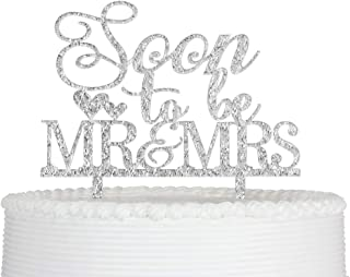 Qttier Soon to Be Mr and Mrs Acrylic with Heart for Wedding Engagement Bridal Shower Cake Topper Decorations (Silver)