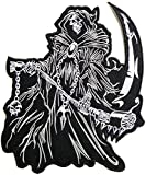8.5' Big Grim Reaper Skull Ghost God Of Death Motorcycle Rider Biker Tatoo Jacket T-shirt Patch Sew Iron on Embroidered Sign Badge Costume